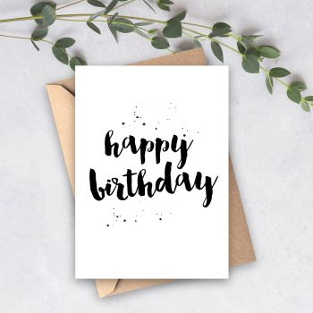 Brush Lettering Happy Birthday Card