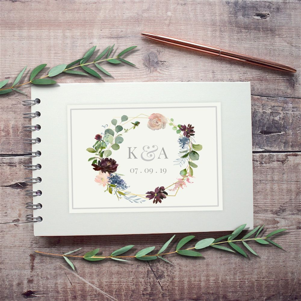 Geometric Florals Wedding Guest Book