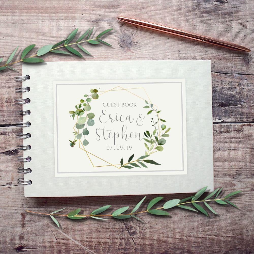 Geometric Botanical Wedding Guest Book