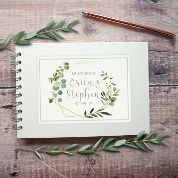 Geometric Botanical Wedding Guest Book- Small A5 or Large A4