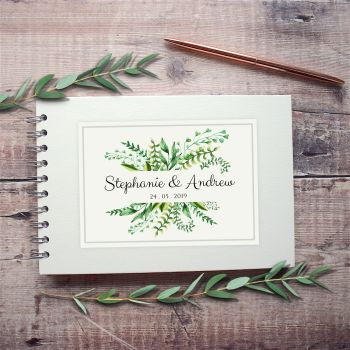 Botanical Ferns Wedding Guest Book - Small A5 or Large A4