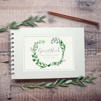 Botanical Loop Wedding Guest Book - Small A5 or Large A4