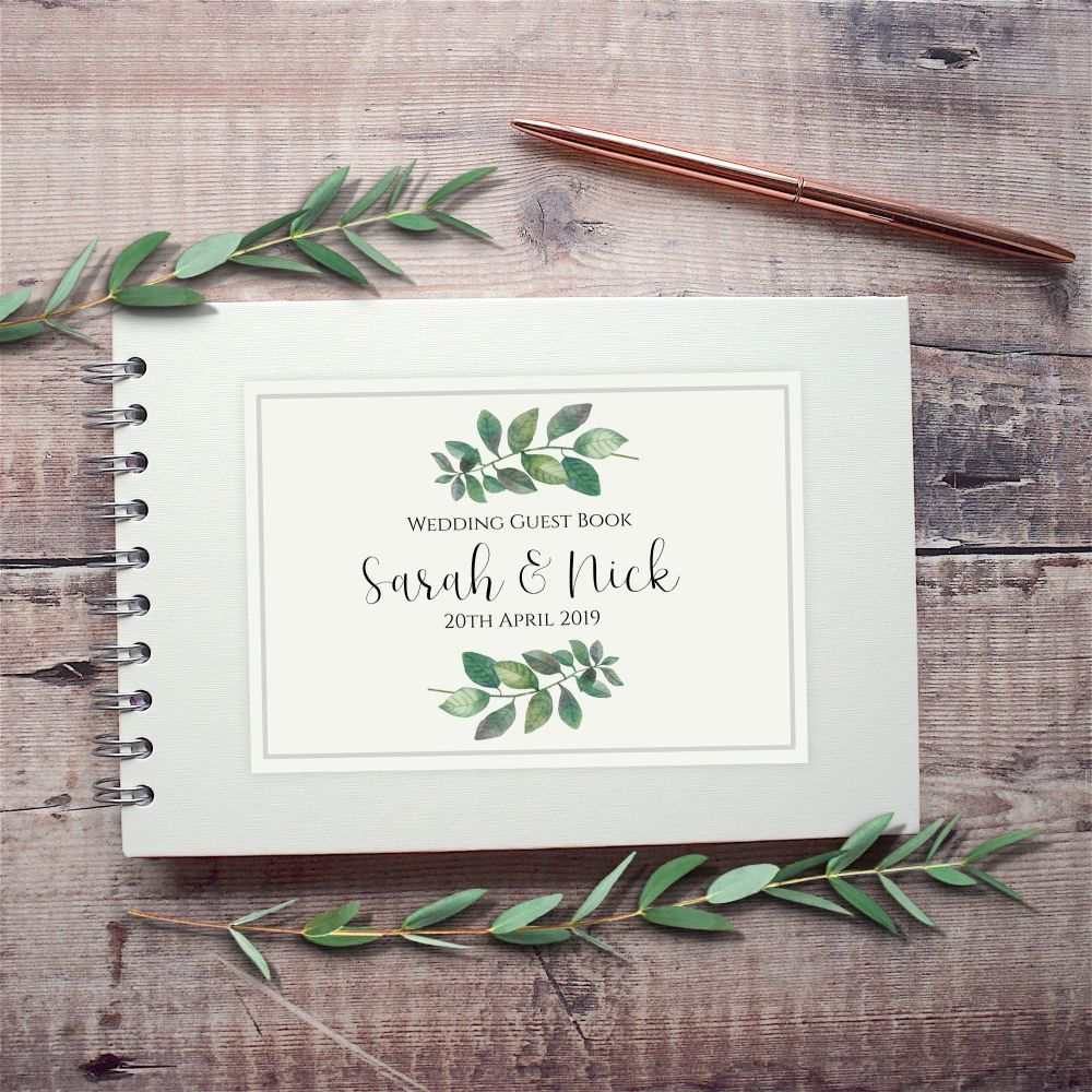 Botanical Leaf Wedding Guest Book - Small A5 or Large A4