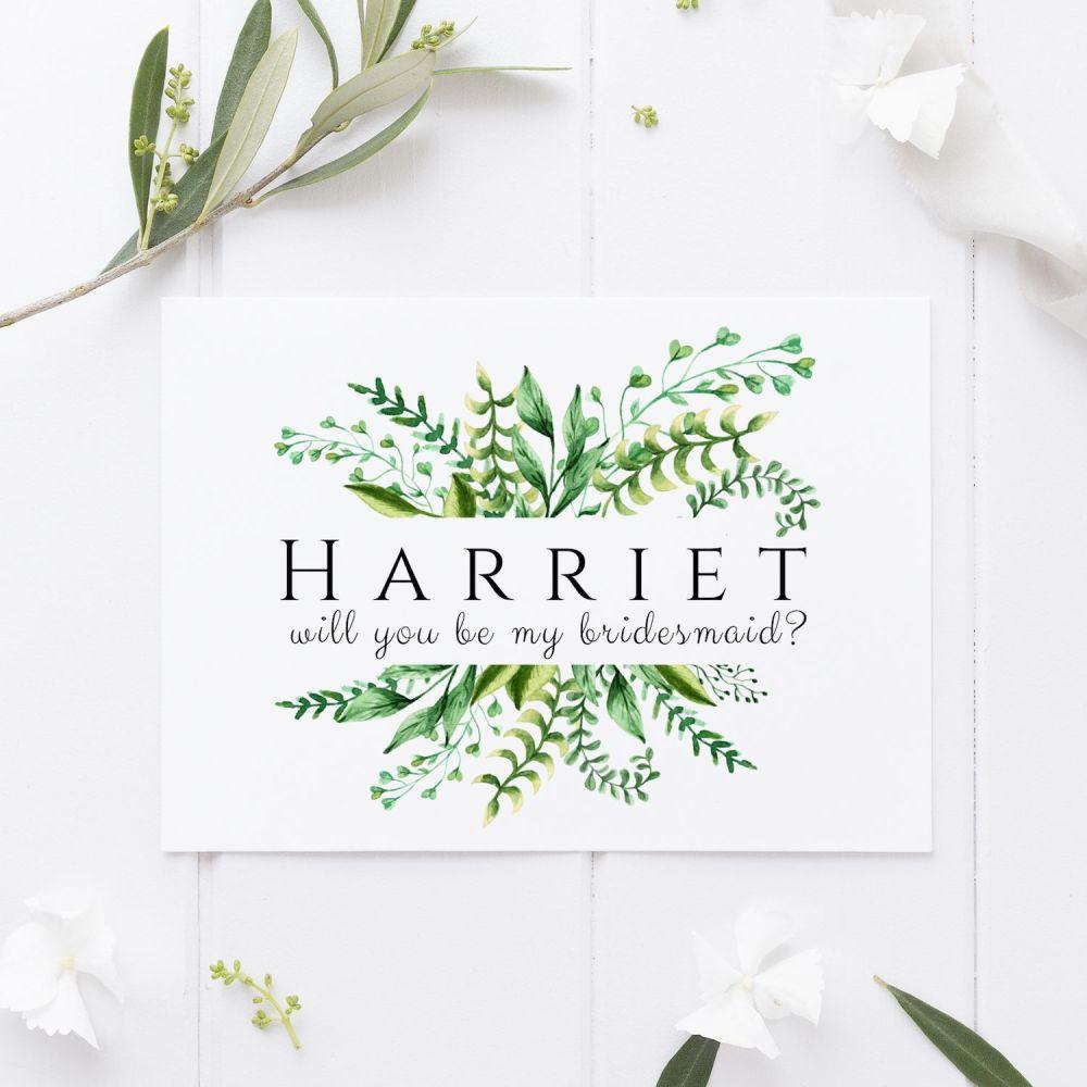 Botanical Ferns Bridesmaid Proposal Card