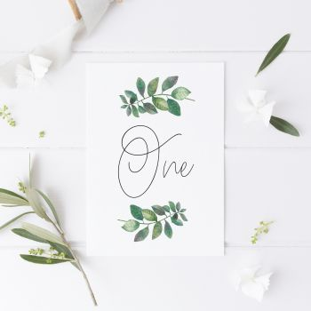 Botanical Leaf Table Number Cards