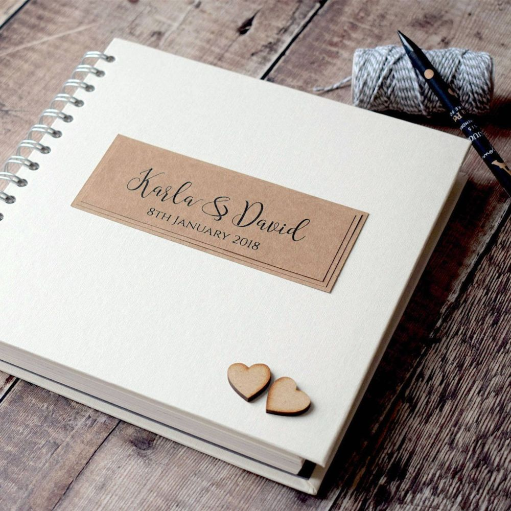 Rustic Wooden Hearts Square Wedding Guest Book