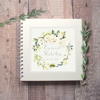 Botanical White Floral Wedding Guest Book
