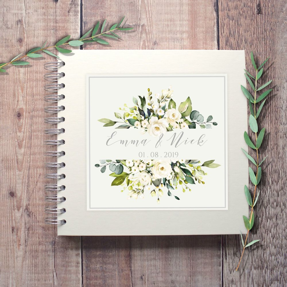 Botanical White Floral Frame Wedding Guest Book
