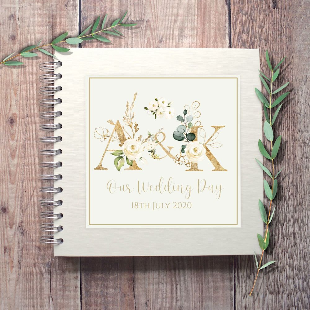 White Floral Initials Botanical Wedding Guest Book