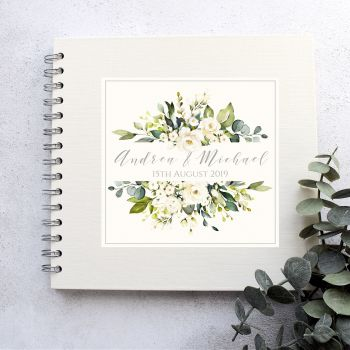 White Rose Frame Wedding Guest Book