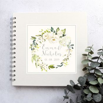 White Rose Wreath Wedding Guest Book