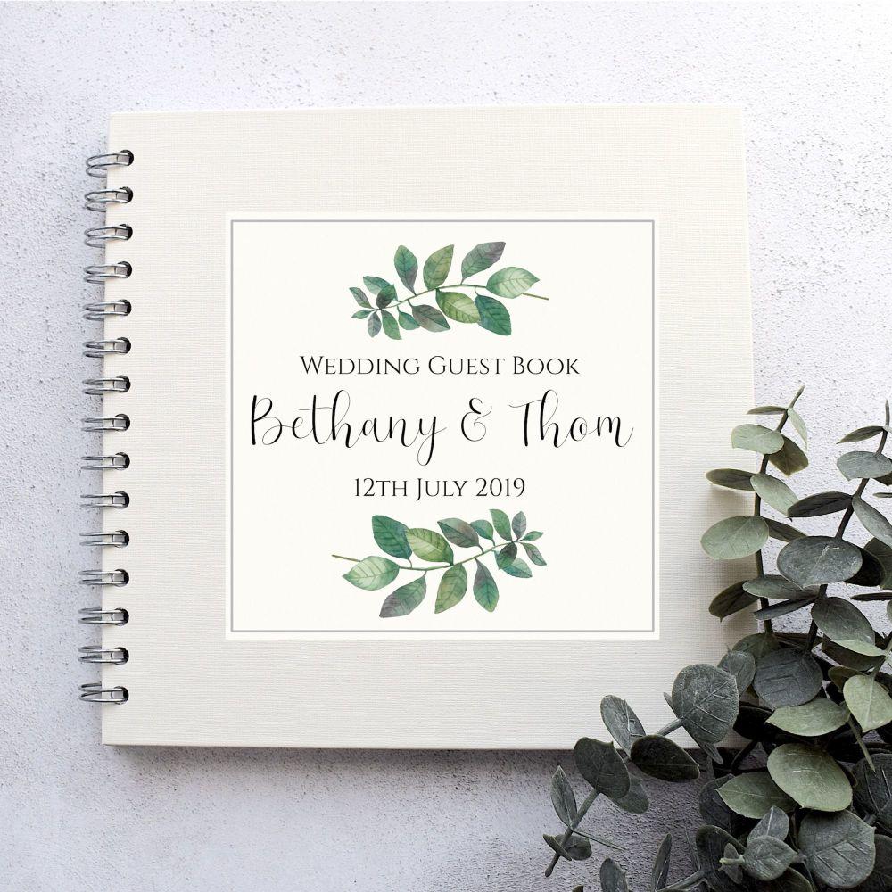 Botanical Leaf  Wedding Guest Book