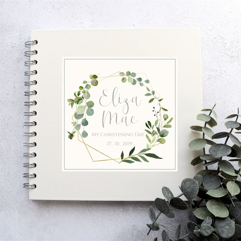 Geometric Botanical Christening or Naming Day Guest Book