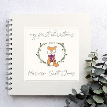 Woodland Fox Baby's First Christmas Scrapbook Album