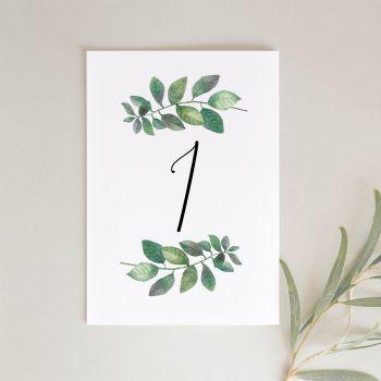Botanical Leaf Table Numbers