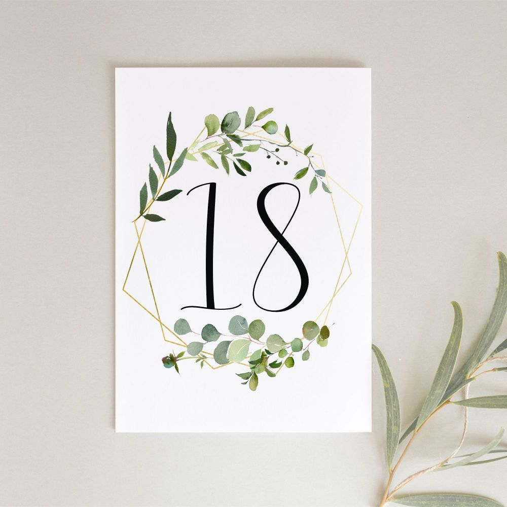 Geometric Botanical Table Numbers