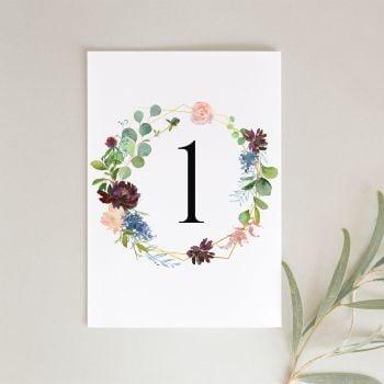 Floral Botanical Table Number Cards