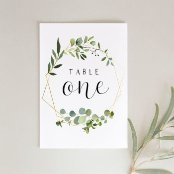 Geometric Botanical Table Number Cards
