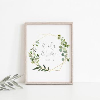 Botanical Personalised Wedding Print