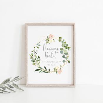 Botanical Pink Rose Personalised Baby Print