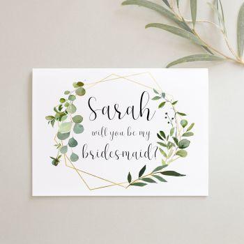 Geometric Botanical Bridesmaid Proposal Card