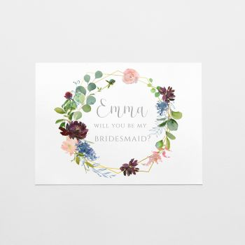 Geometric Floral Bridal Party Proposal Card