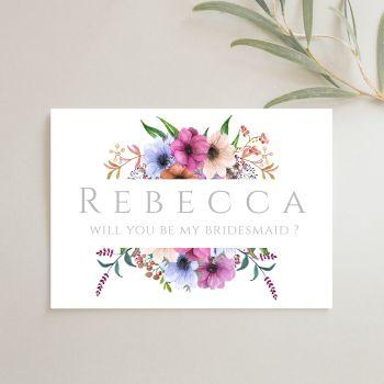 Floral Bridal Party Proposal Card - Purple