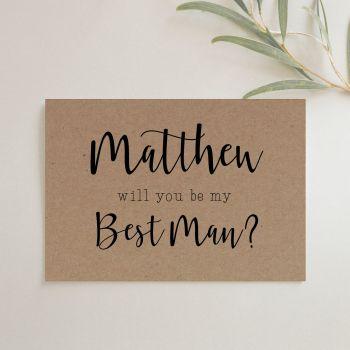 Rustic Best Man or Groomsman Proposal Card