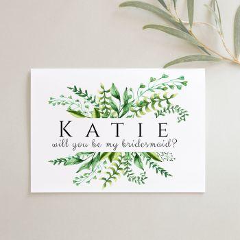 Botanical Fern Bridal Party Proposal Card