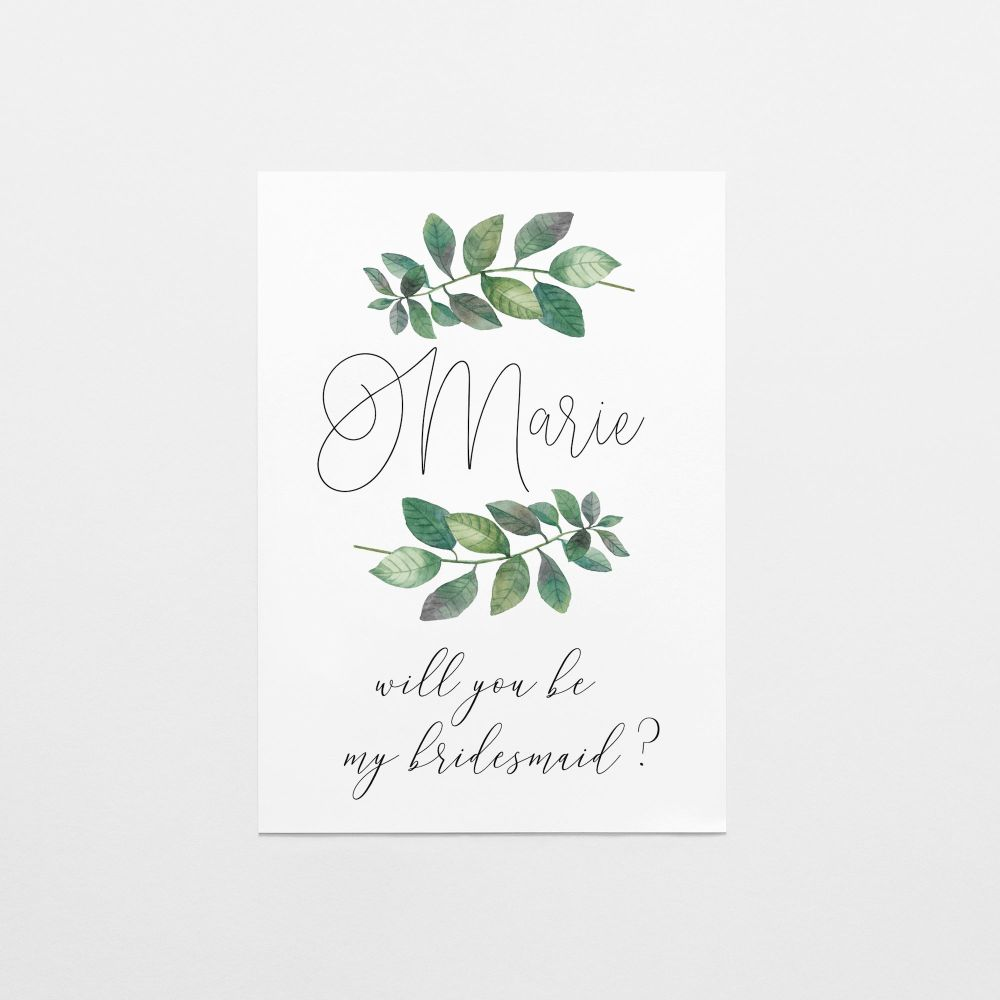 Botanical Leaf Bridesmaid Proposal Card