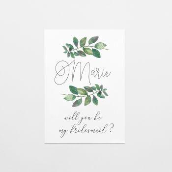 Botanical Leaf Bridesmaid Proposal Card