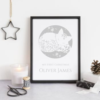 Baby's First Christmas Personalised Print - Dreamy Hygge Fox
