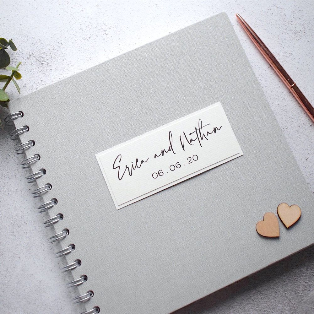 Rustic Grey Wedding Guest Book with Wooden Hearts