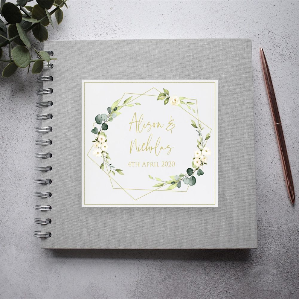 Geo Floral Botanical Grey Wedding Guest Book