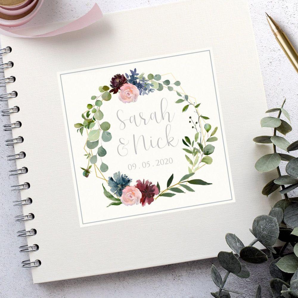 Geometric Floral Botanical Wedding Guest Book
