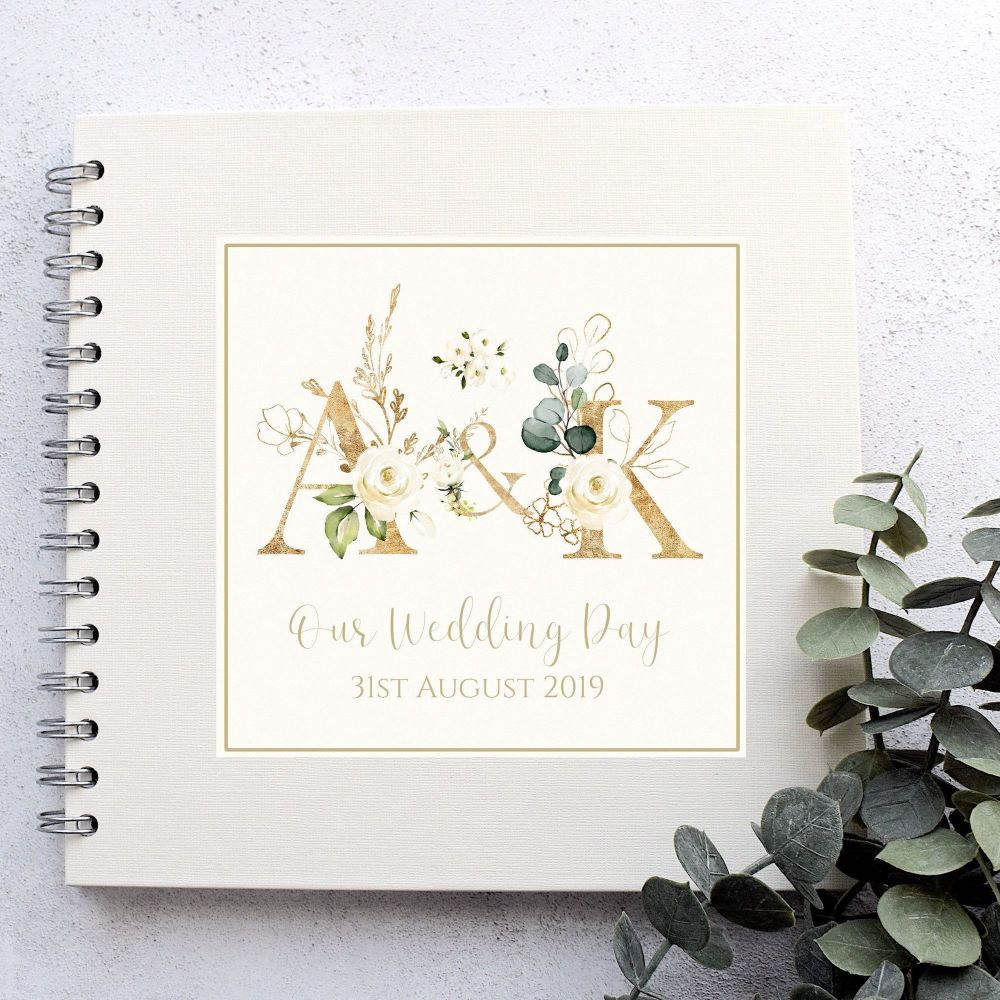 Botanical Gold Initial/Monogram Wedding Guest Book