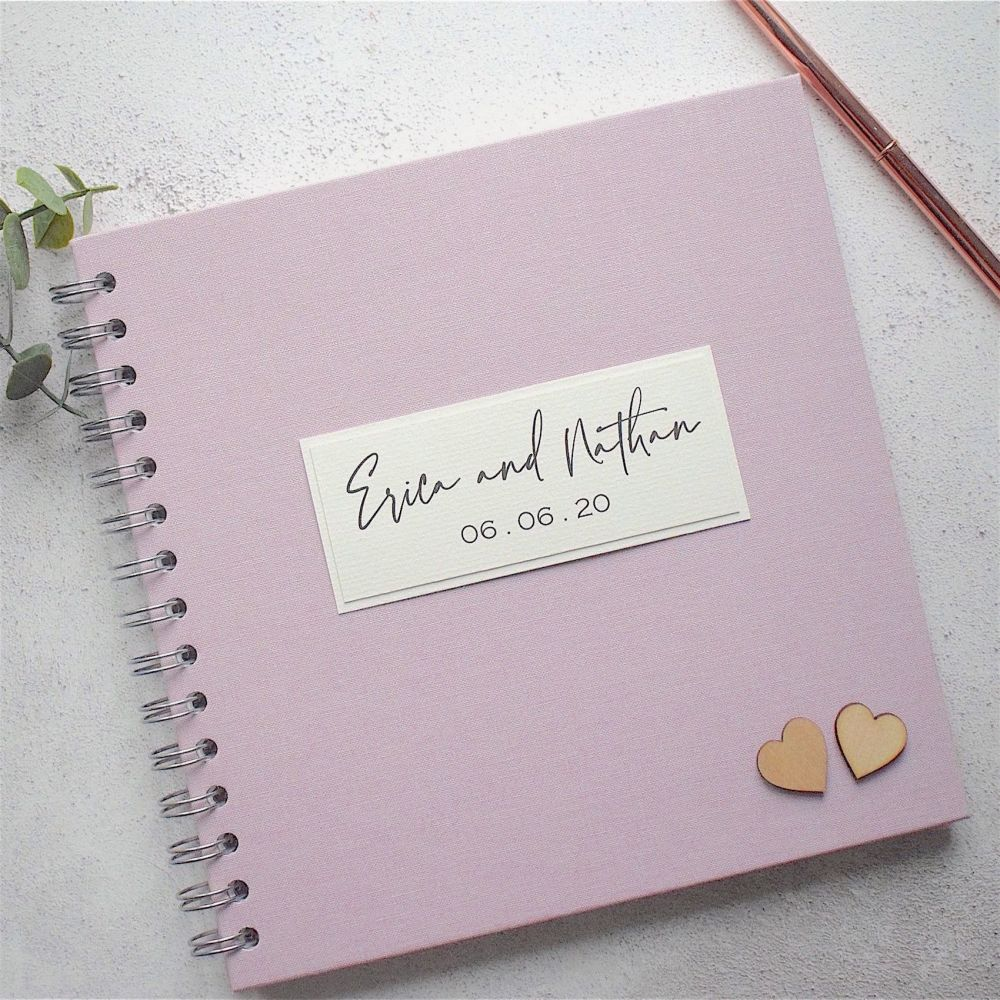 Pink Wedding Guest Book - Add Wooden Hearts