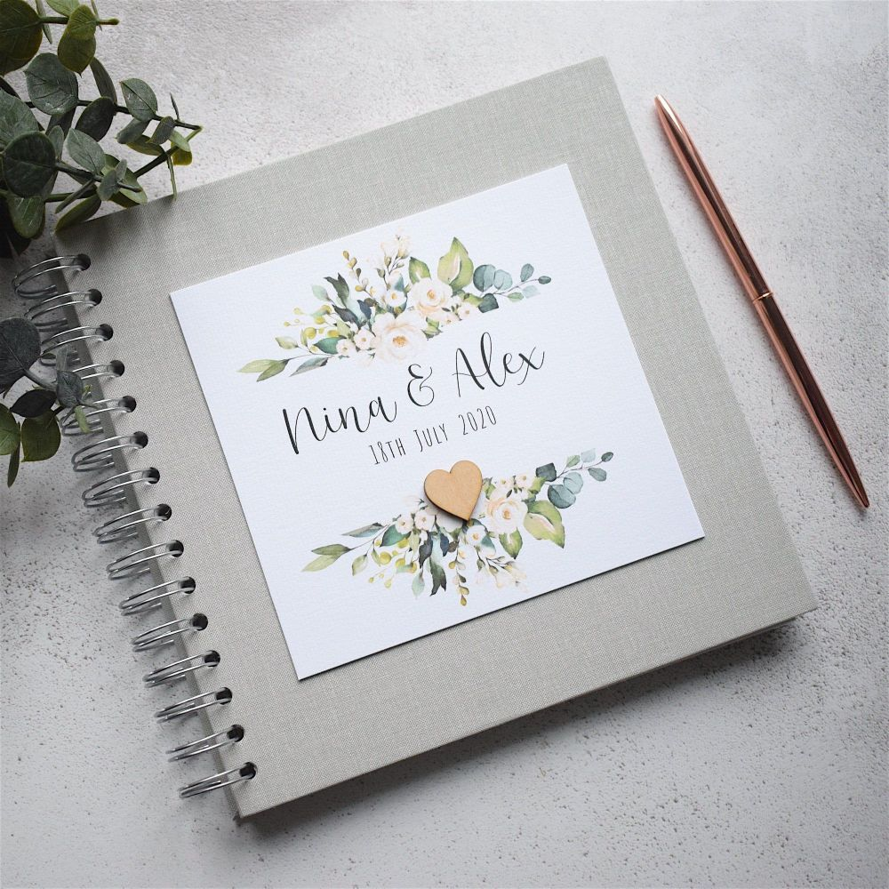 Floral Frame Grey Wedding Guest Book - Wooden Heart