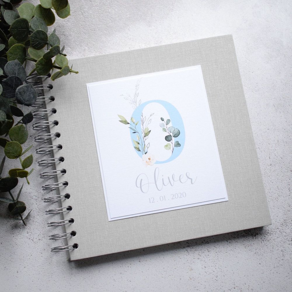 Blue Initial Baby Album or Scrapbook with Grey Cover