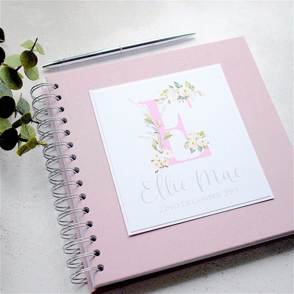 Pink Initial Baby Album or Scrapbook with Pink Cover