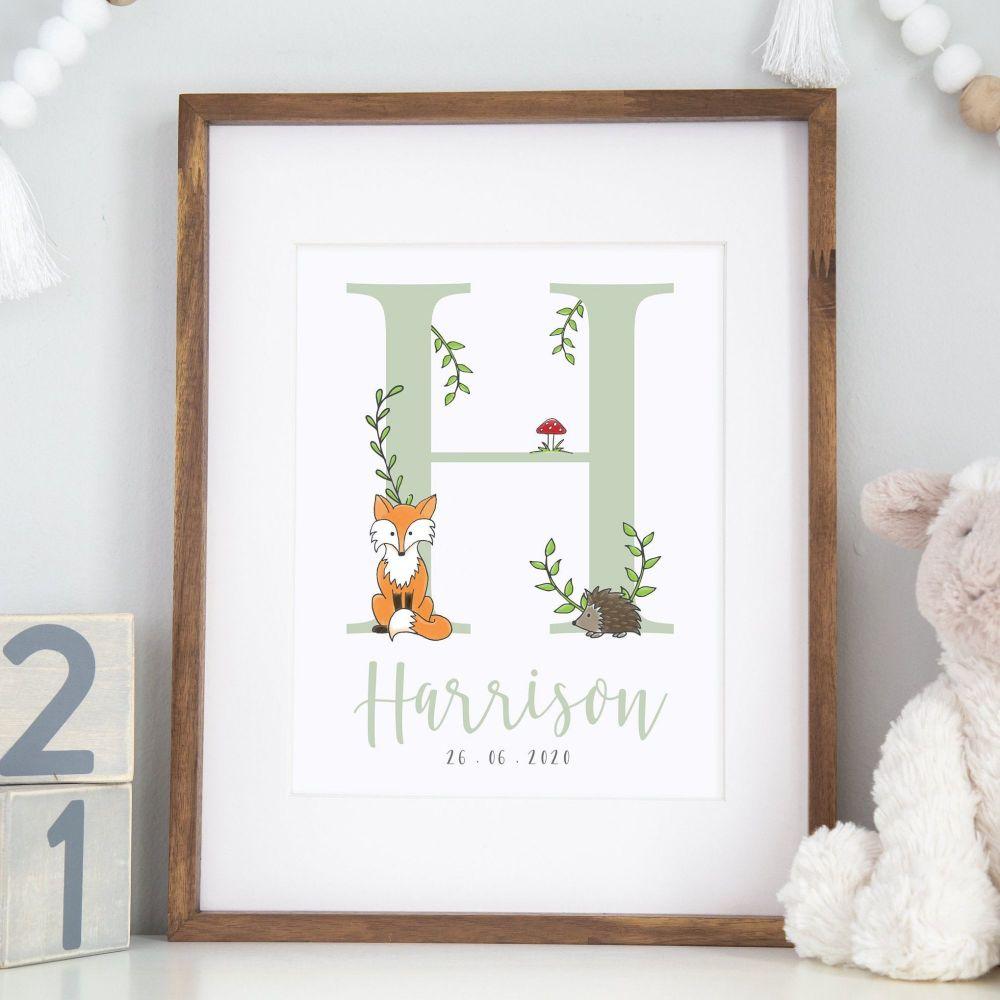 Woodland Fox Initial Print