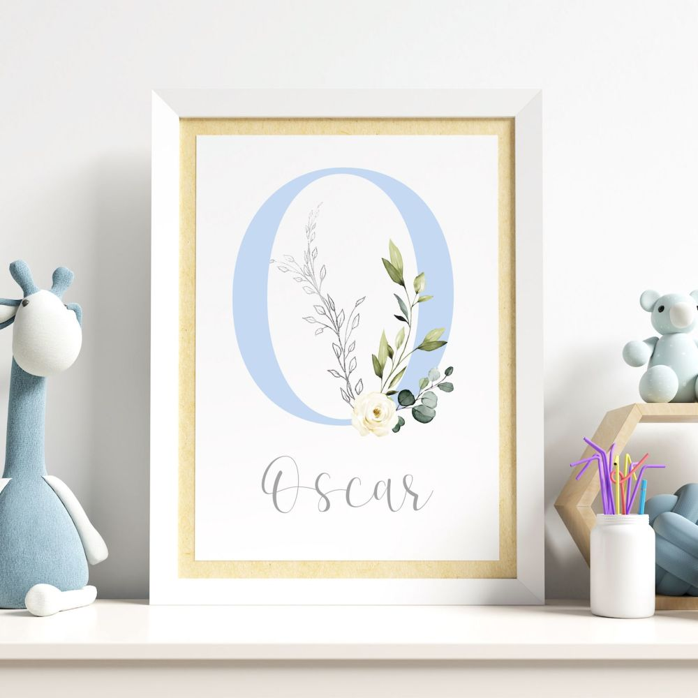 Blue Botanical Initial Print