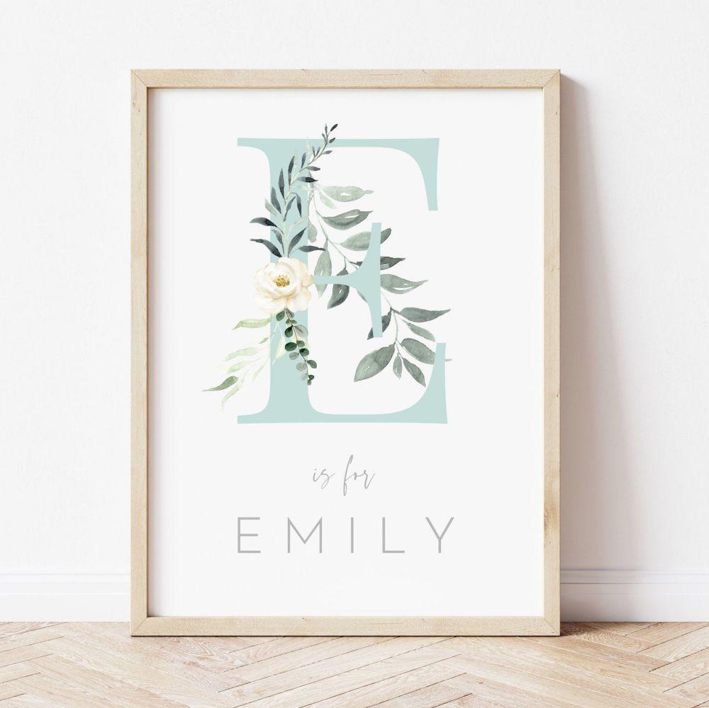 Olive Leaf Rose Initial Print