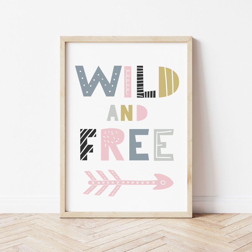 Wild and Free Scandi Nursery Print