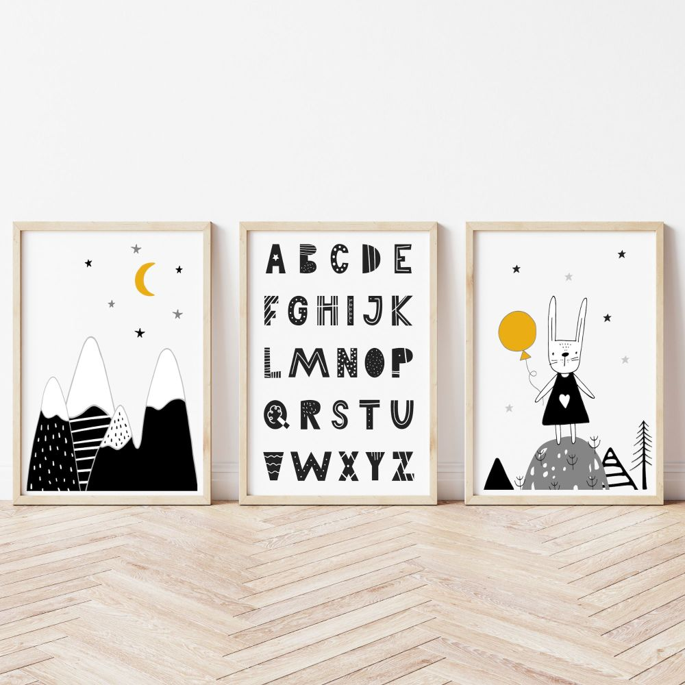 Scandi Design Set of 3 Nursery Prints