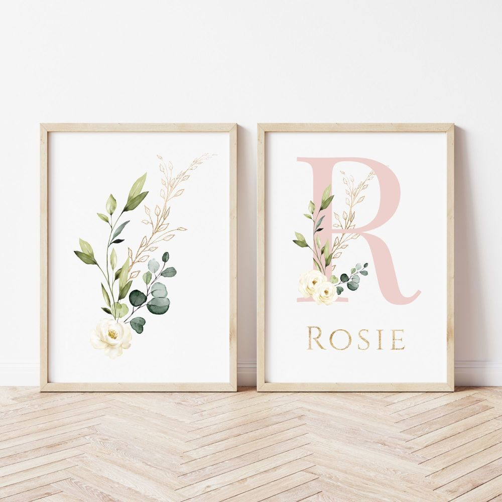 Botanical Dusky Pink Initial Set of 2 Prints