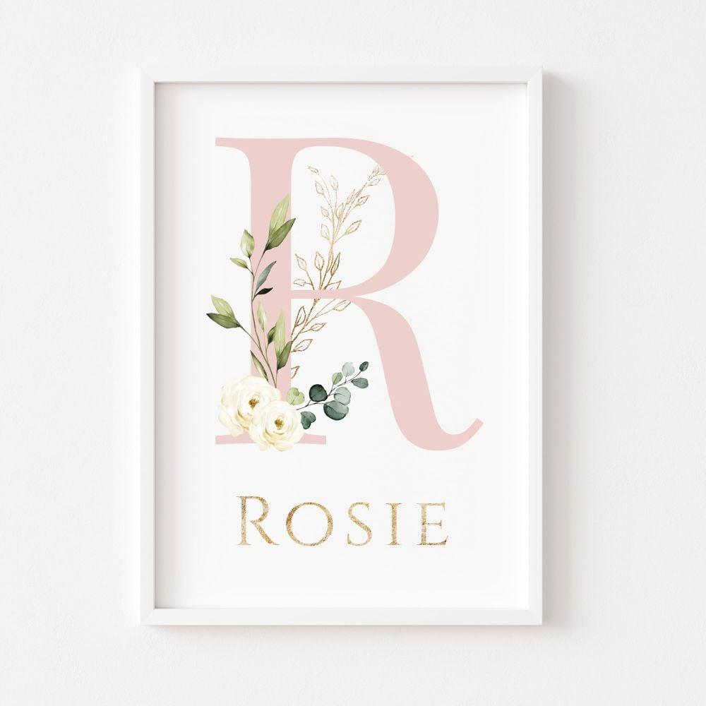 Dusky Pink Botanical Initial Personalised Print