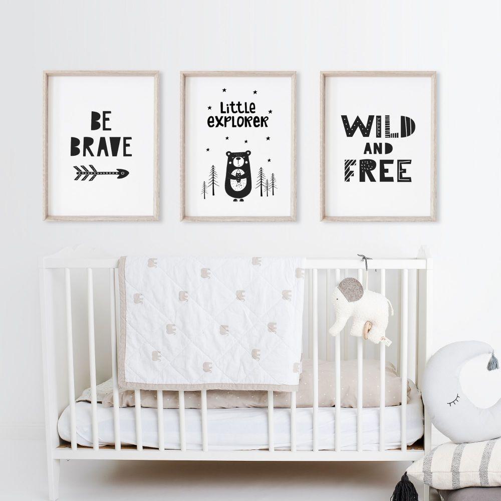 Scandi Little Explorer Set of 3 Nursery Prints