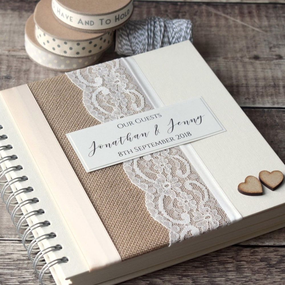 Hessian & Lace Wedding Guest Book