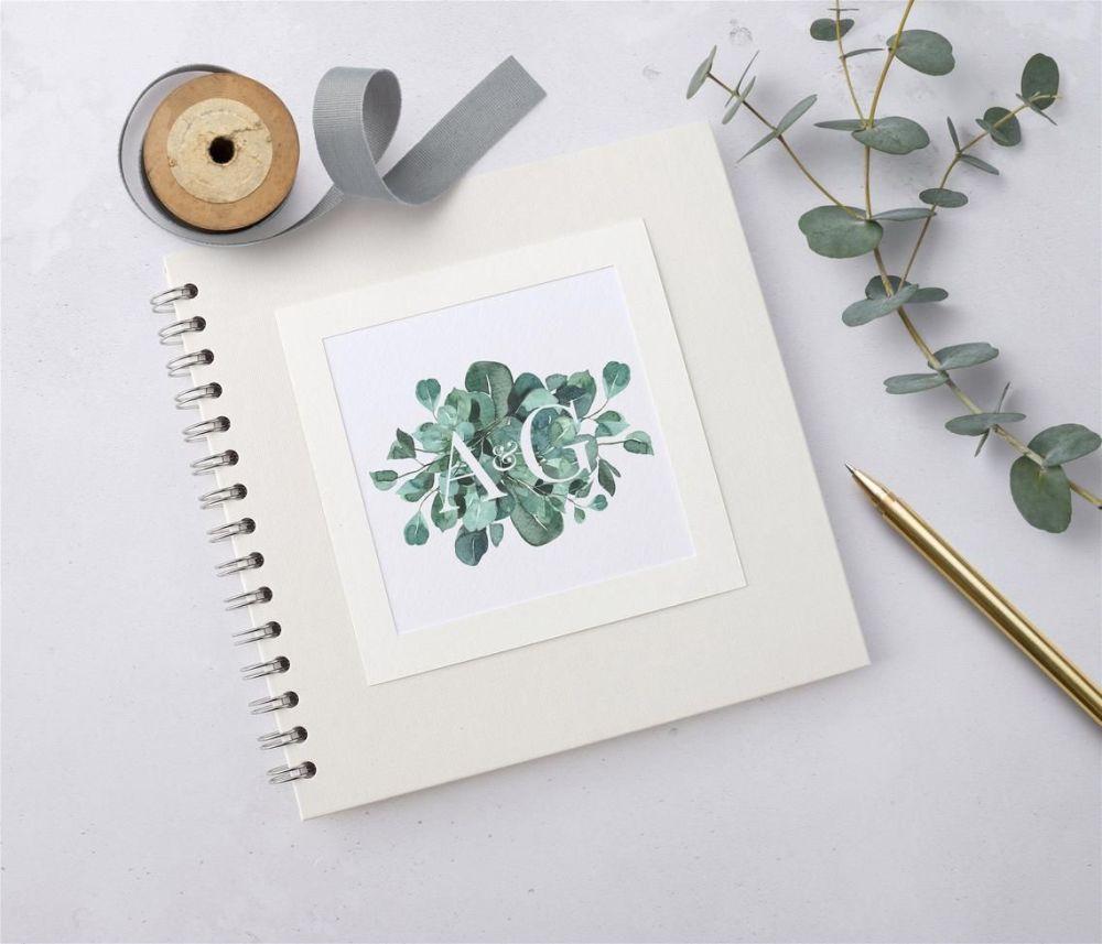 Eucalyptus Initials Wedding Guest Book